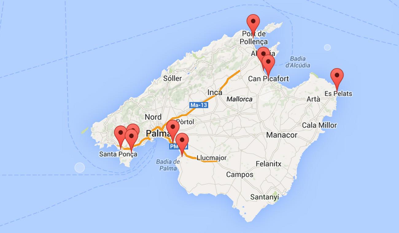 Mallorca Partymeile Karte