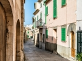 Mediterranean street in Alcudia Old Town, Majorca Balearic island of Spain