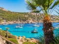 Idyllic view of anchoring boats in the bay of Sant Elm Majorca Spain