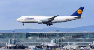 Boeing 747-800 Lufthansa airlines. Germany, Frankfurt am main airport. 14 December 2019.