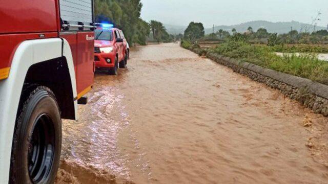 Überflutete Straßen Mallorca
